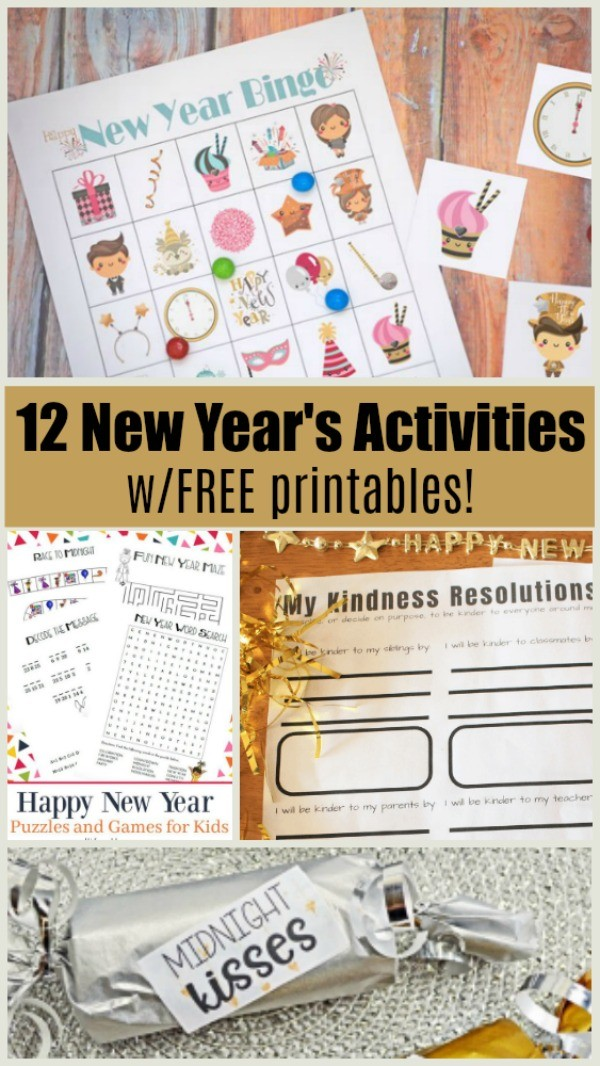 Free printable New Year's Eve games for kids, tween, teens and families
