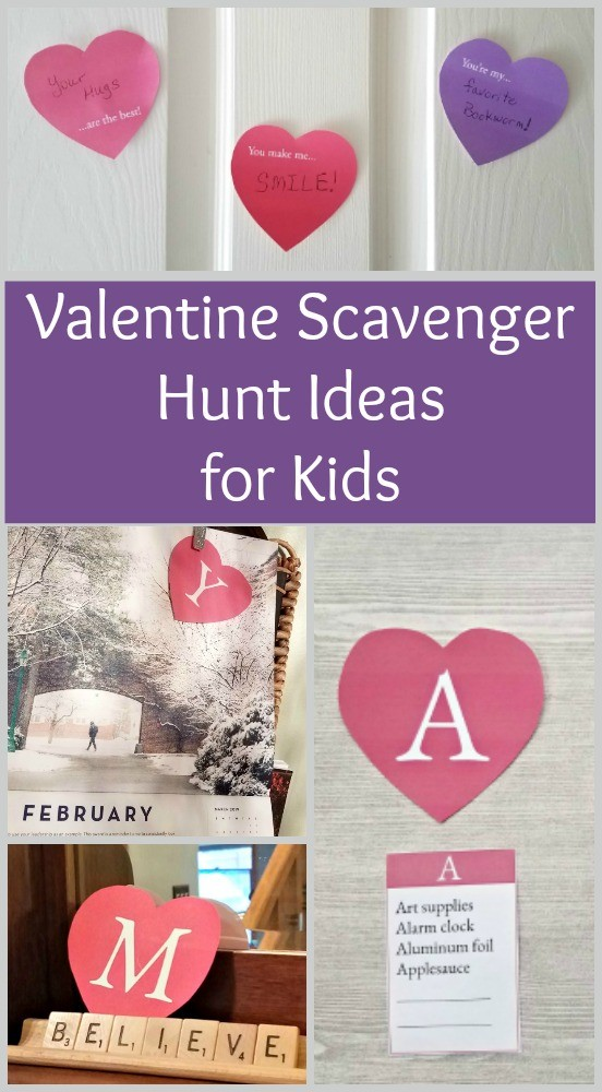 Valentine's Day Scavenger Hunt Ideas with printable heart clues!