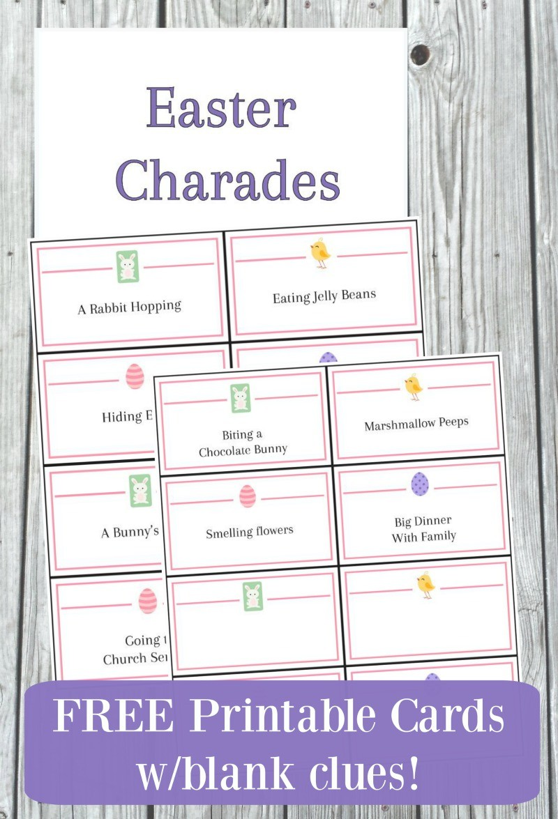 photograph relating to Charades Printable titled Easter Charades for Youngsters Older people with No cost Printable Playing cards