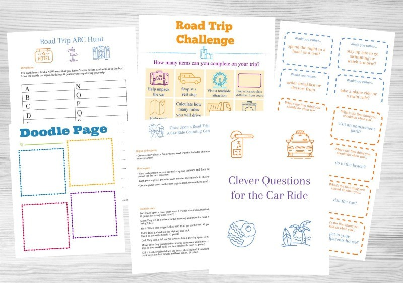Printable road trip games and activities for kids and tweens