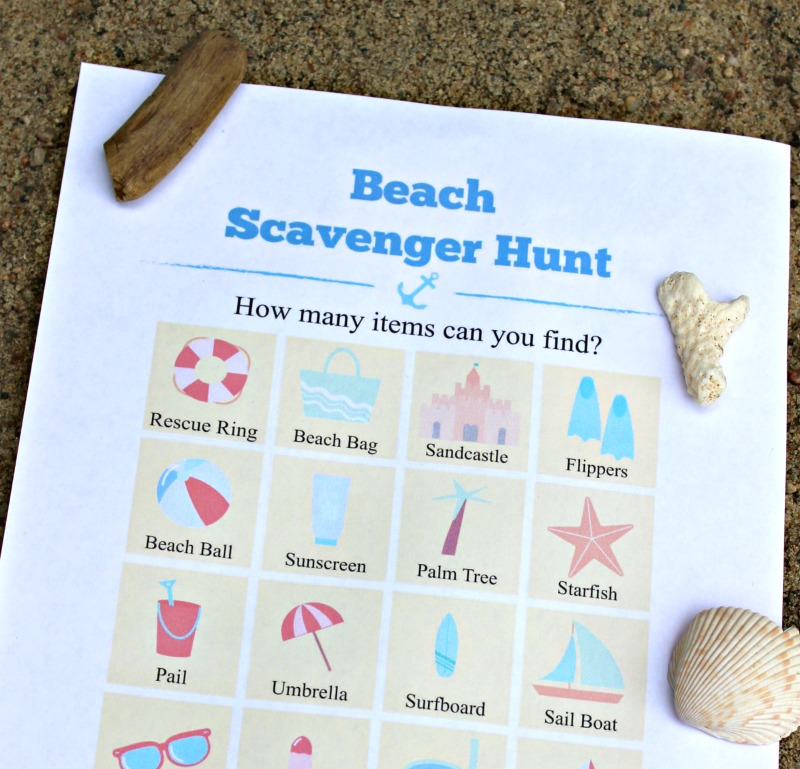 graphic regarding Printable Beach Pictures titled Seashore Scavenger Hunt for Youngsters (Totally free printable!) - Edventures