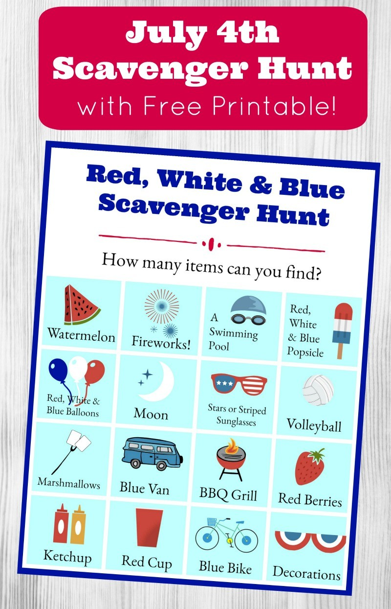 Red white and blue scavenger hunt free printable