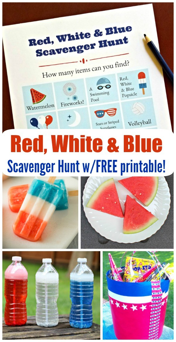 Red, white and blue Scavenger hunt for 4th of july