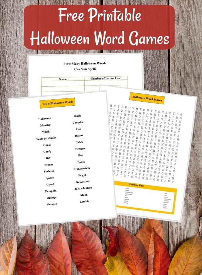 Free printable Halloween Word games