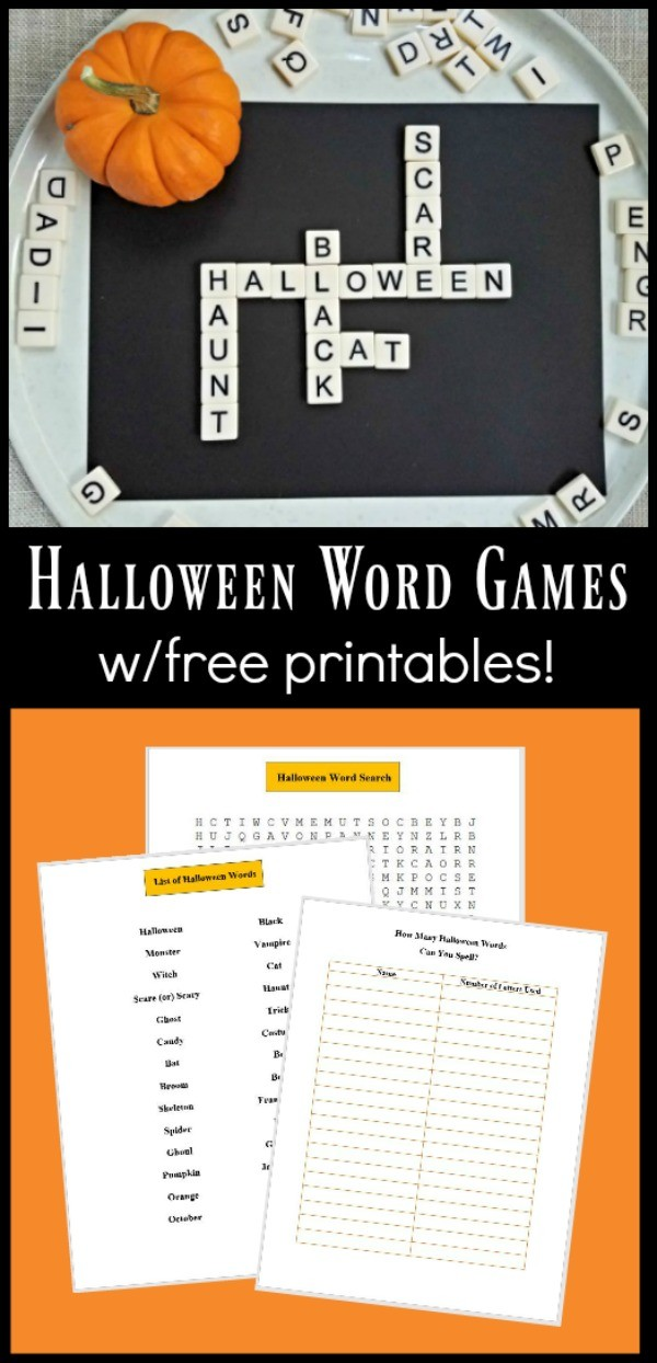 Halloween word games printable