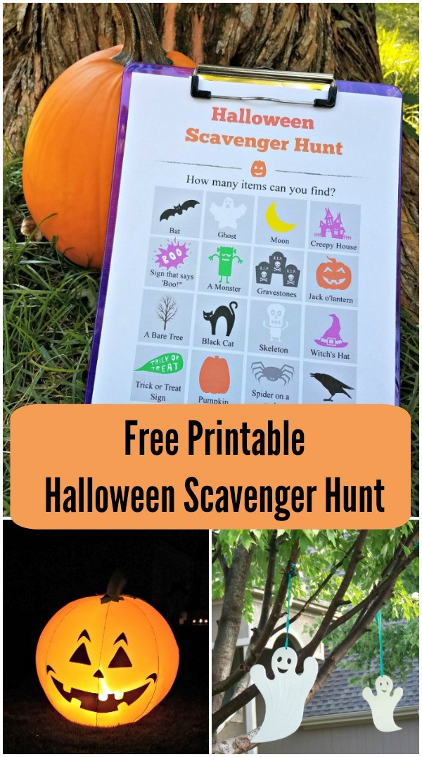 Halloween scavenger hunt for kids with free printable