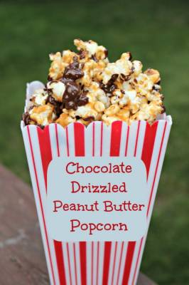 Chocolate Drizzled Peanut Butter Popcorn {Kids in the Kitchen}