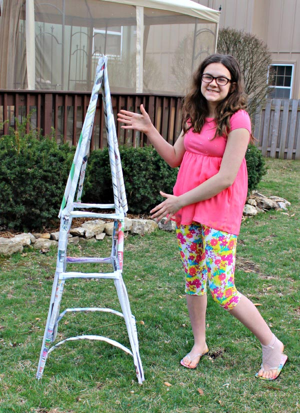 engineering eiffel tower from newspaper - STEM for kids