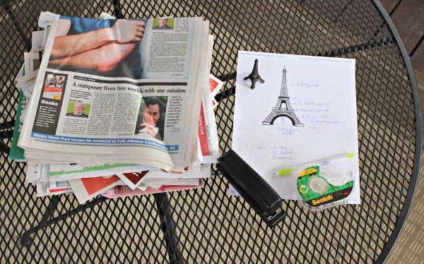 supplies need to build an Eiffel Tower from newspaper