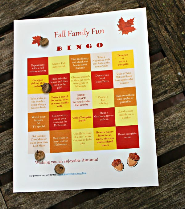 50 Fun Fall Activities for Families BINGO game | Edventures with Kids