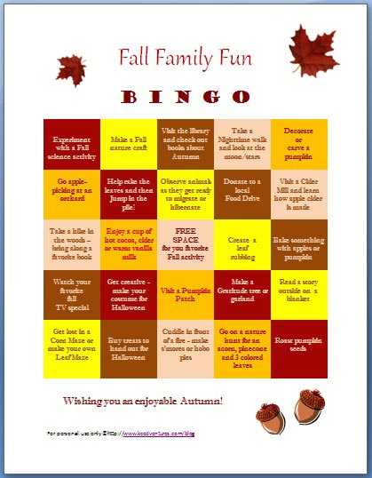 Fun Things to do this Autumn free printable BINGO game | Edventures with Kids