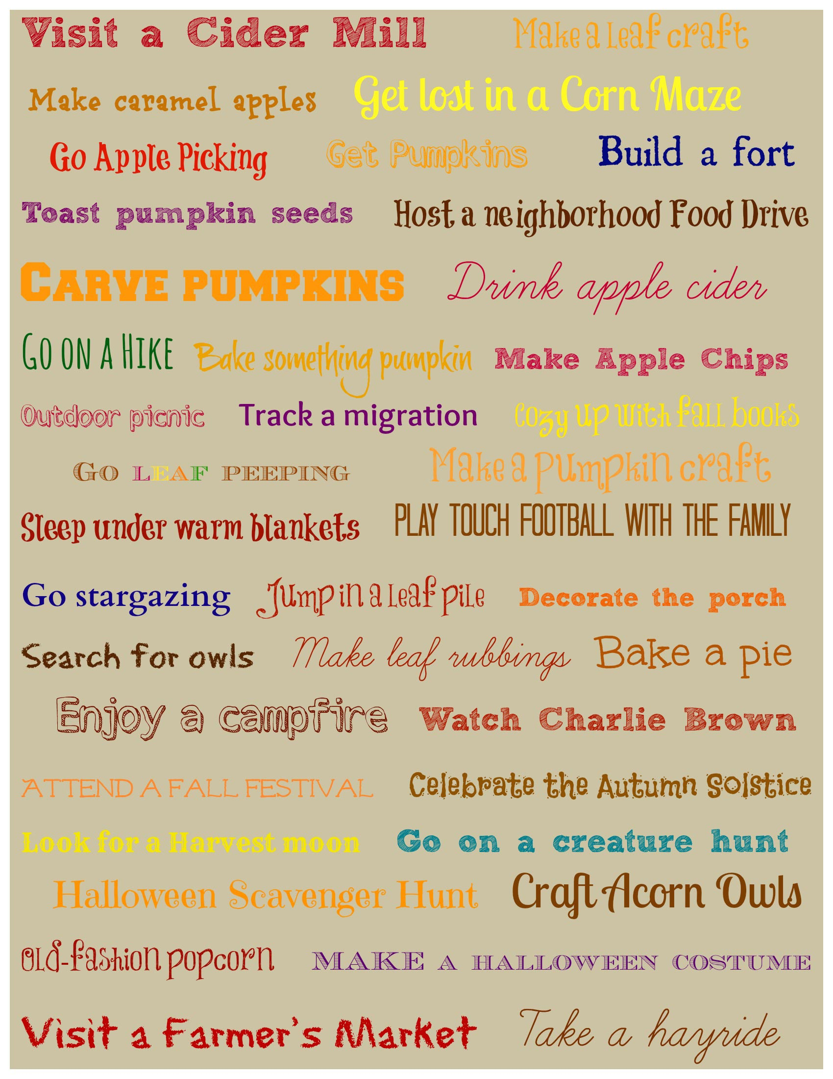 Fun things to do in the Fall