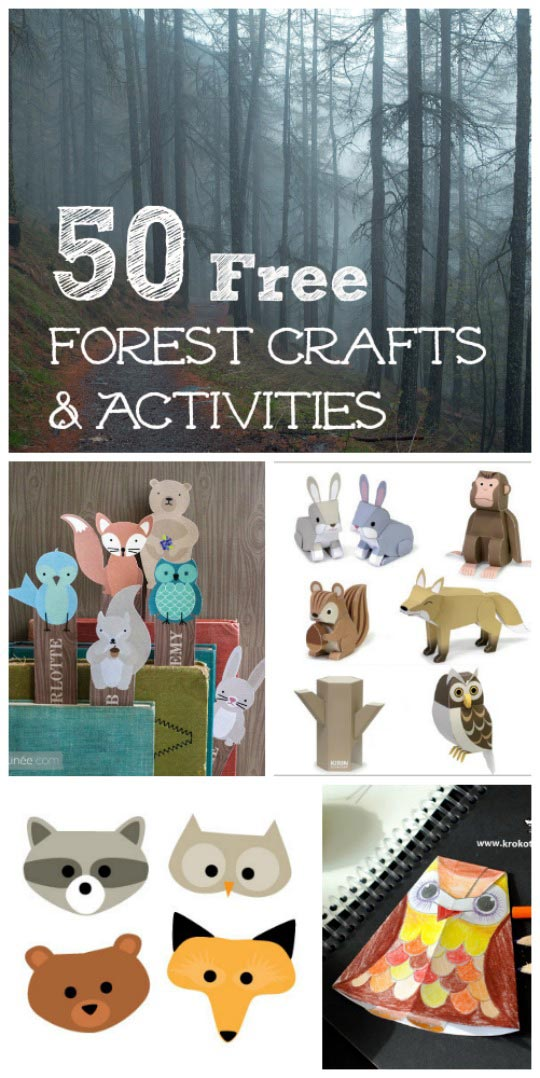 forest crafts and woodland activities for kids with printable