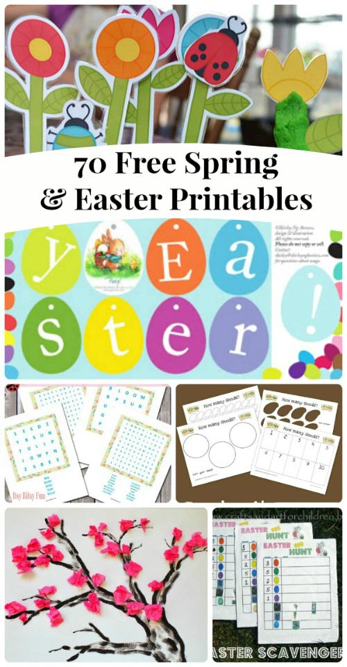 free spring activities and Easter printables