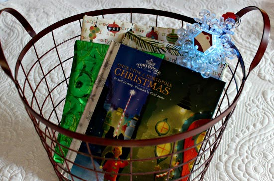 Book basket for Advent countdown