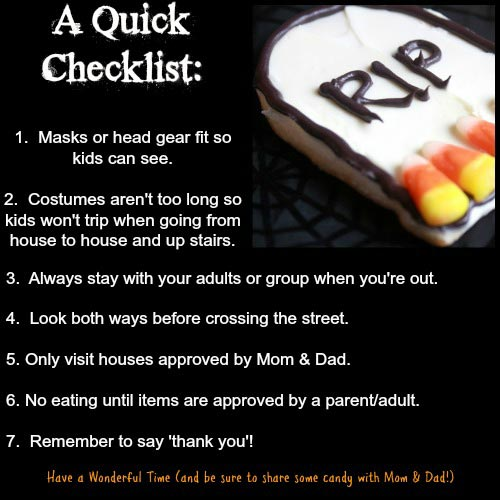 Trick or treat safety tips for kids on Halloween night