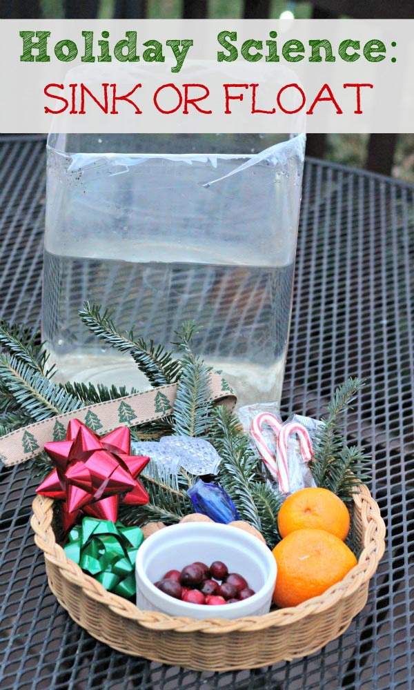 holiday science experiment using Christmas items