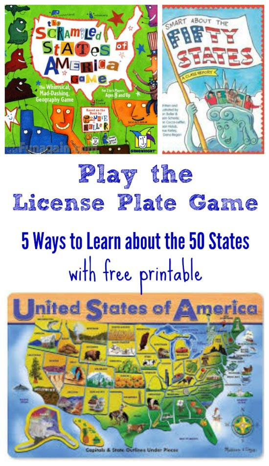 License Plathe Game with free US map for road trips with kids!