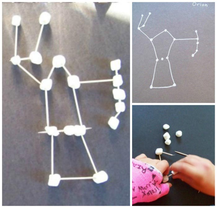 Star Constellations using marshmallows - fun science activity for kids