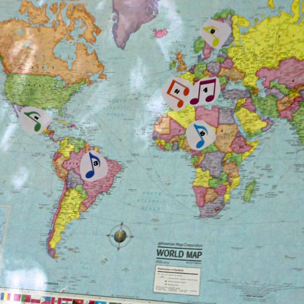 An awesome kids' music game!  Map songs from around the world.