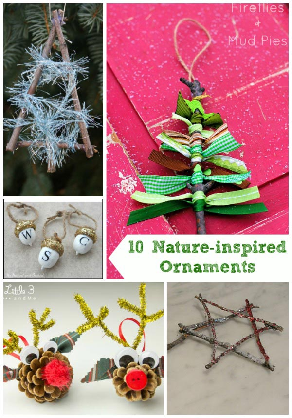 Christmas ornaments made with sticks and pinecones
