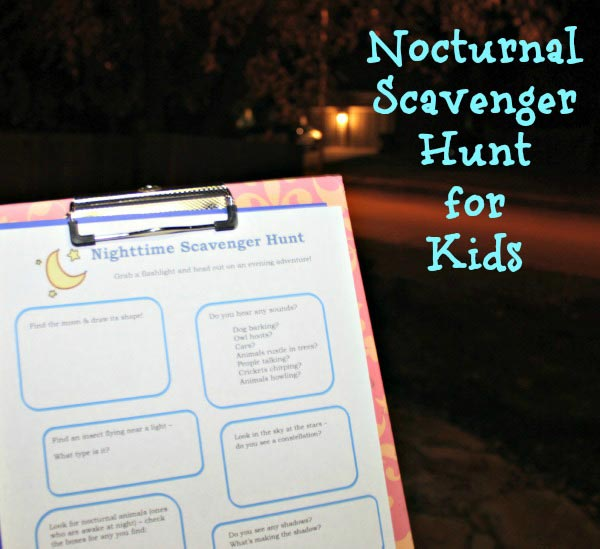 nocturnal scavenger hunt printable with science-based things to find in the dark!
