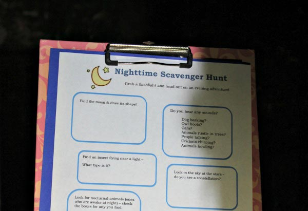 Outdoor Night time Scavenger Hunt for Kids with free printable list!