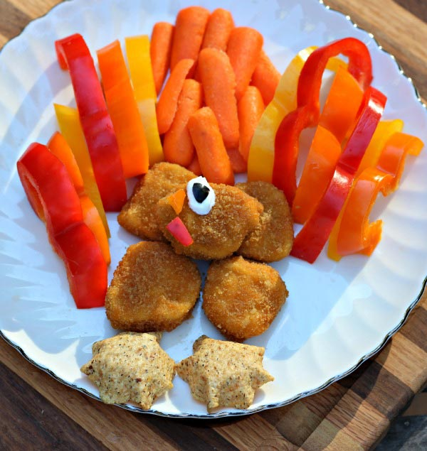 Turkey themed snack plate for kids