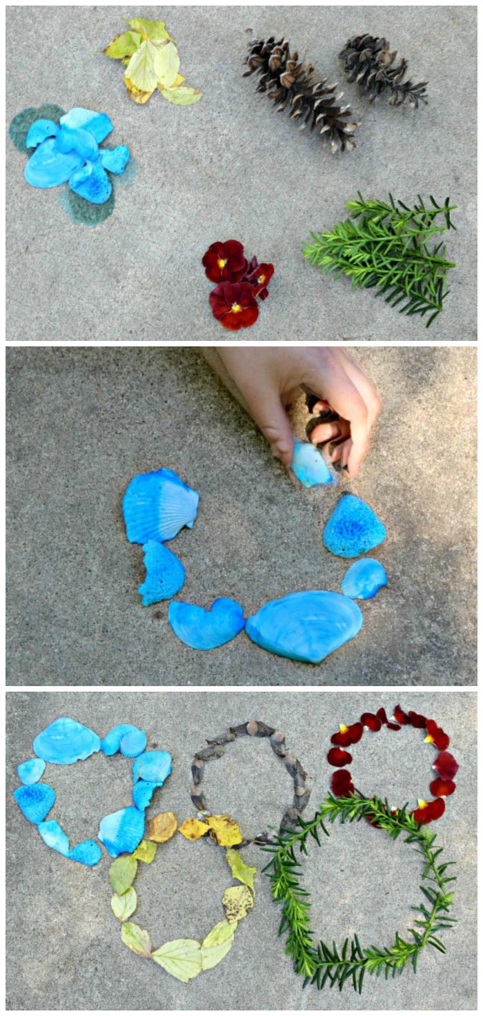 Olympic themed nature art for kids -- craft the Olympic Rings!