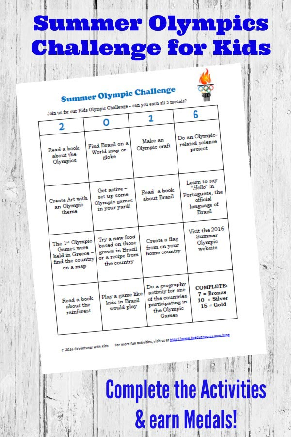 Summer Olympic activities for kids with free printable
