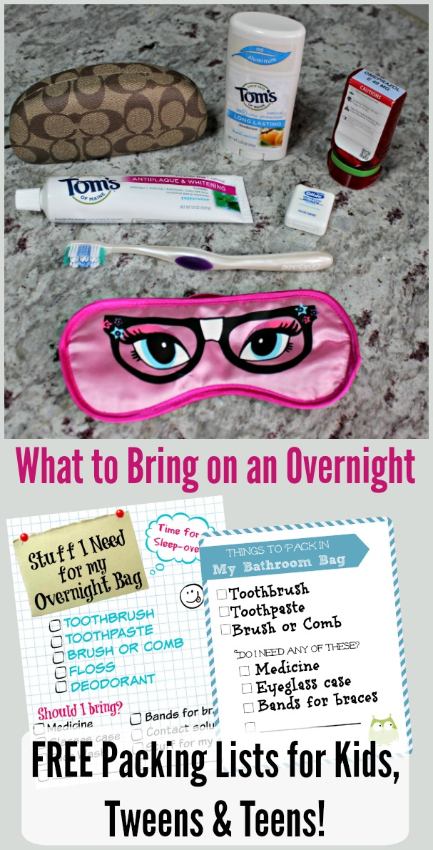 overnight packing list kids tweens teens