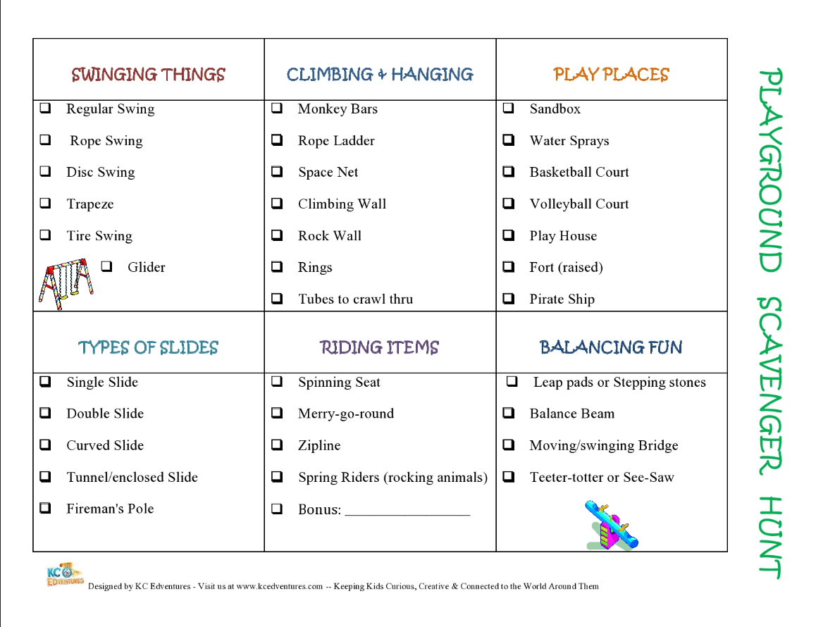 Free printable Playground Scavenger Hunt