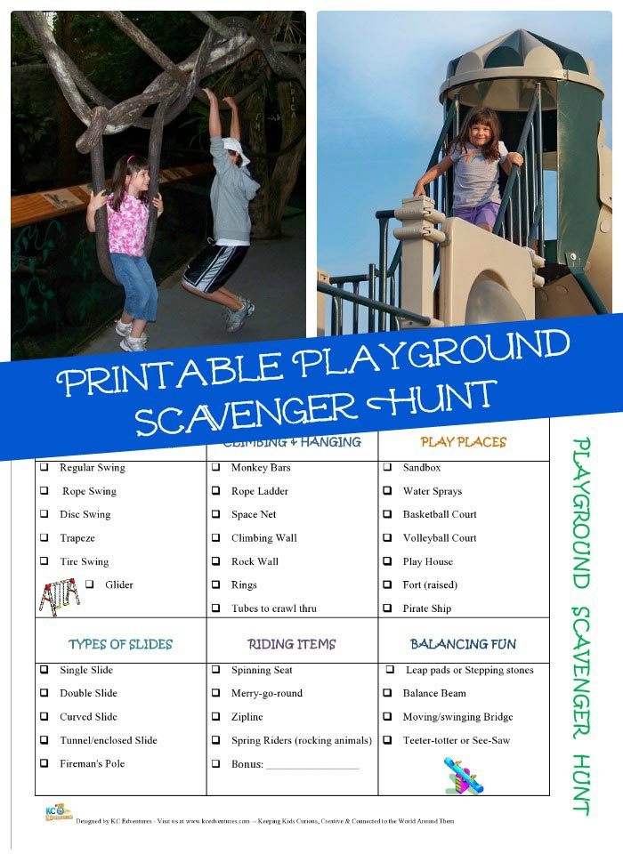 Playground Scavenger Hunt free printable