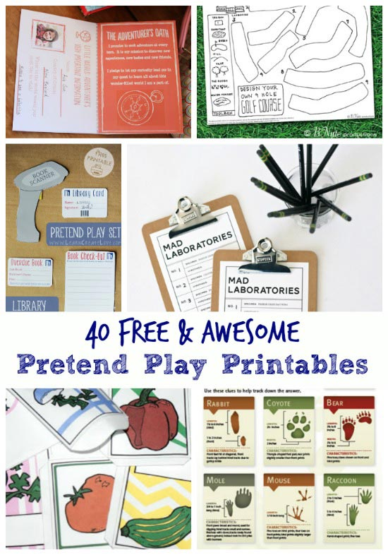 pretend play free printables