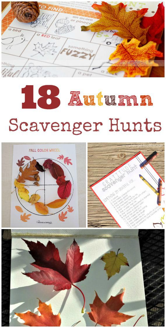 18 Autumn Scavenger Hunts for Kids {w/free printable}