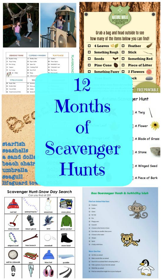 Scavenger Hunts for Kids - Free printable Indoor & Outdoor hunts with list and clues!