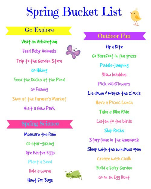 spring bucket list for kids