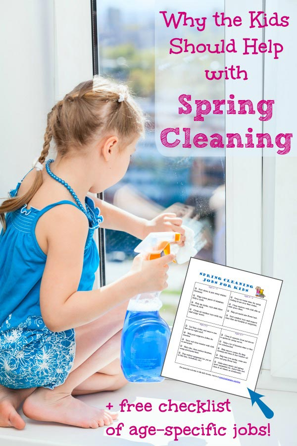 Spring cleaning chores for kids with free printable checklist