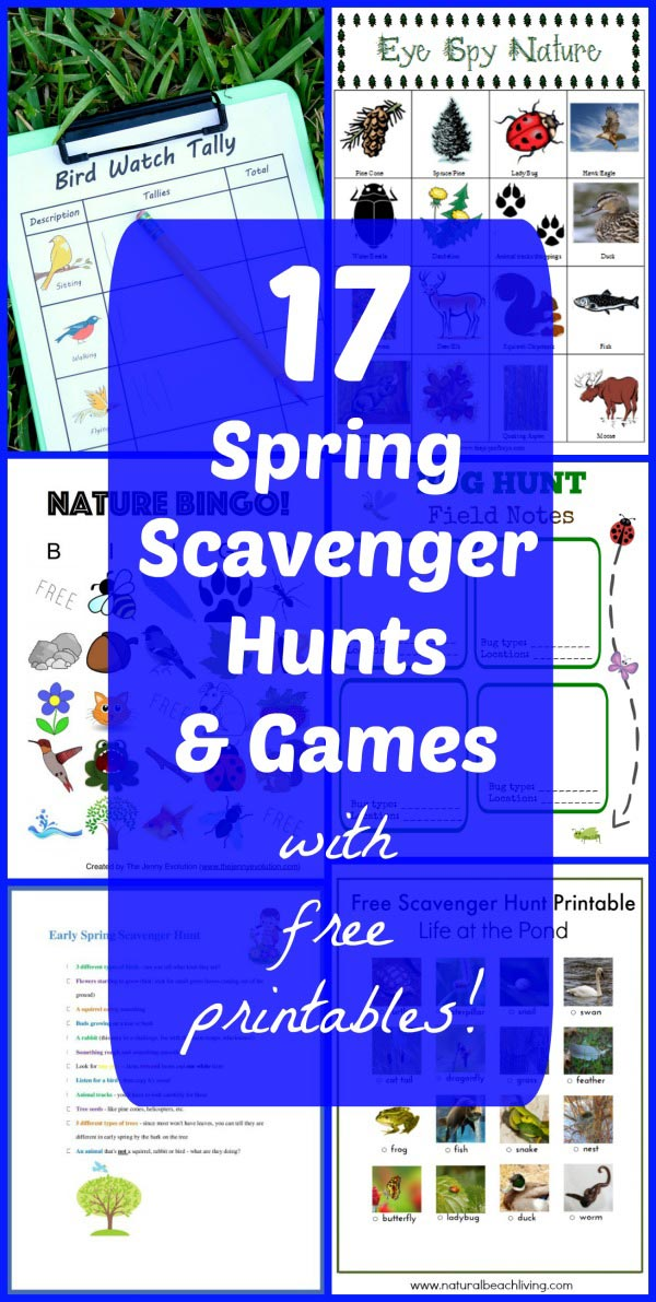 Spring Scavenger Hunt ideas and printable outdoor games for preschool, big kids and tweens!