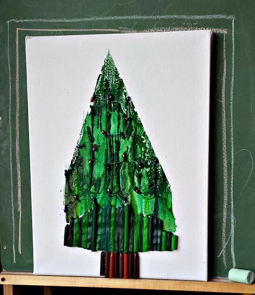 Tree art using melted crayons