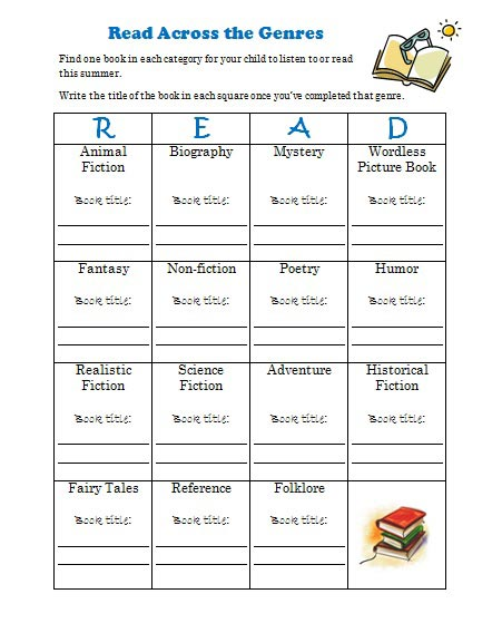 Summer Reading - free printable to track book varieties