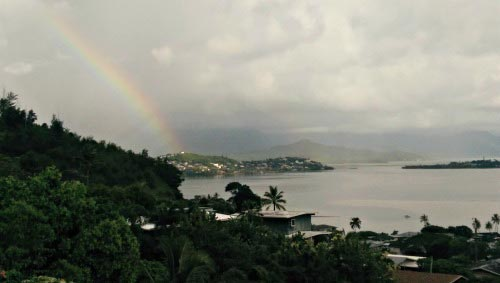 Rainbow over bay with HTC One