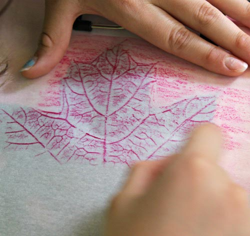 Leaf printing with crayons on parchment paper - easy Fall craft for kids!