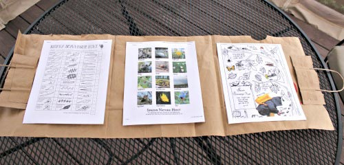 Tutorial for an easy DIY Nature Journal with more than 70 free printables outdoor activities!