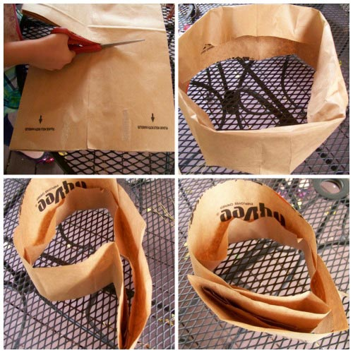 Folding bag to make a crown