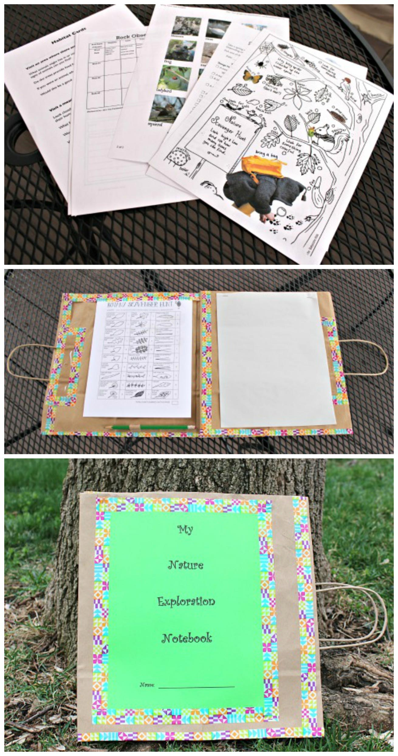 Great tutorial for an easy DIY Nature Journal that includes 70 free printable outdoor activities!