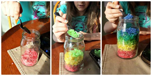 Fine Motor Activities for Kids - Rainbow in a Jar craft