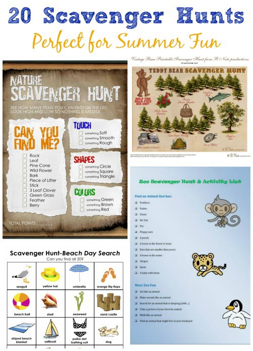 Summer Scavenger Hunt Ideas for Kids with printables!