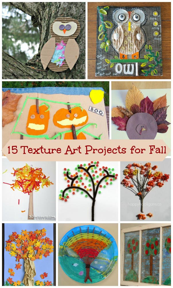 Fall themed Textured Art for Kids