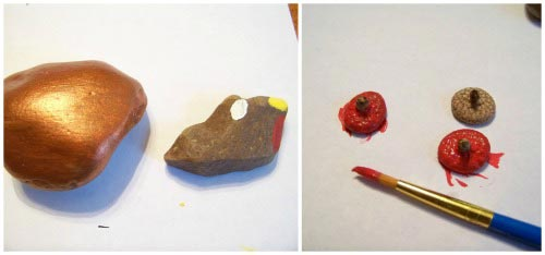 Turkey painting with acorns